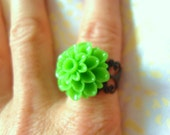 Darlia flower green festival jewellery jewelry ring one size fits all black filligree neon green boho ring flower child