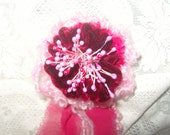 RASBERRY CORSAGE red velvet recycled summer flower pin baby pink free shipping