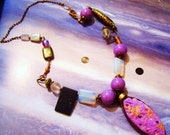 A Pastel lavender  lilac big statement necklace semi precious stone pale yellow moonlight diamonte rustic glam