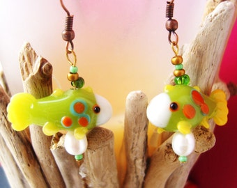 Nemo Fish earrings hand blown glass