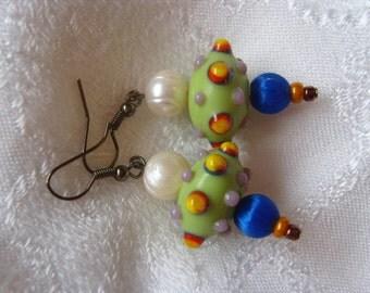 Blue satin and Green lampwork earrings fwp