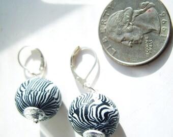 Black white tribal zebra stripe modernist ball and silver leaf earrrings