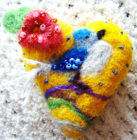 OOAK Needle felted Yellow heart blue bird broach pendant