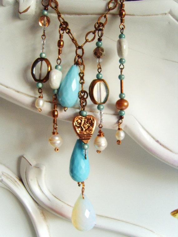 OOAK MERMAIDS TEARS copper & opalite necklace