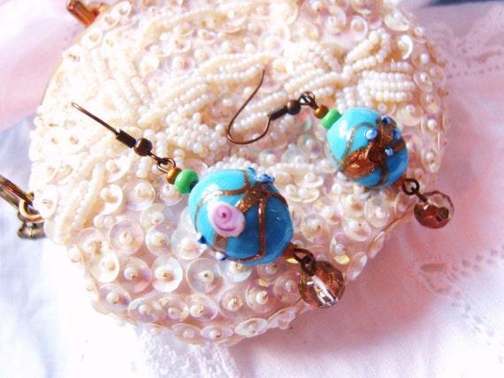 AZURE BLUE ROSE candy swirl earrings