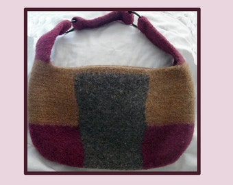Crocheted Felted Bucket  Purse - Bag - 100% New Zealand Wool - Tri-Colored