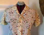 RESERVED/Reserved/ Do not buy Sale - REDUCED/// A Great 1950's Novelty Print Ladies Blouse