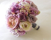 Reserved Listing for michelle casares. Shade of Purple, Lavender and Lilac Bridal Bouquet with Rhinestone Handle