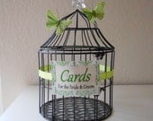 Black Modern Wedding Birdcage, Wedding Card Holder with Butterflies Accent, Green, Small