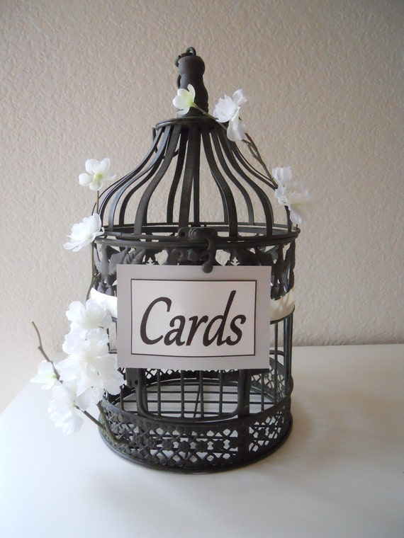 Rustic Wedding Birdcage, Wedding Card Holder with White Flowers Accent, White, Ivory, Large