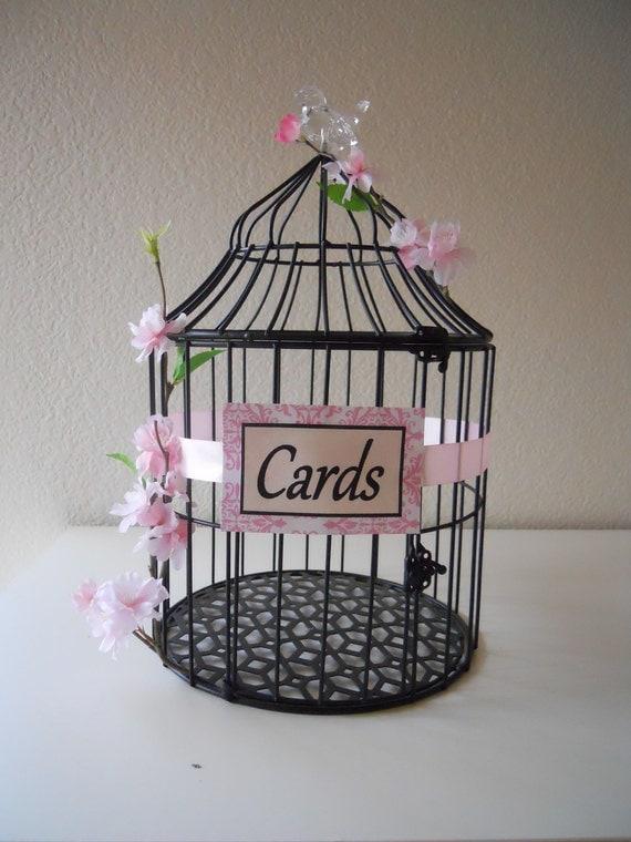 Resreved Listing for roxy91793 . Black Modern Wedding Birdcage, Wedding Card Holder, Pink, Large, SALE