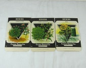 Antique 1920s CARD SEED PACKETS Herbs Set of 3 Never Used