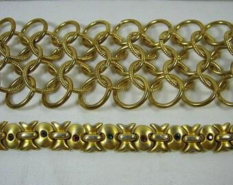 Vintage GOLD BRACELET Set/2 Wide Chain RHiNESTONE Bracelets Jewelry Gift