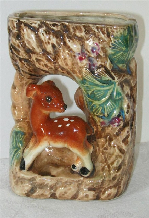 Vintage WALL POCKET vase Deer in Woodland Scene Retro