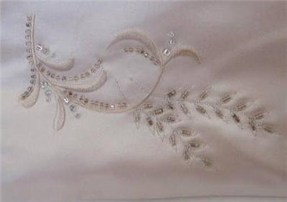 Vintage Satin Wrap Beaded Shawl Beads Embroidery Dresser Scarf