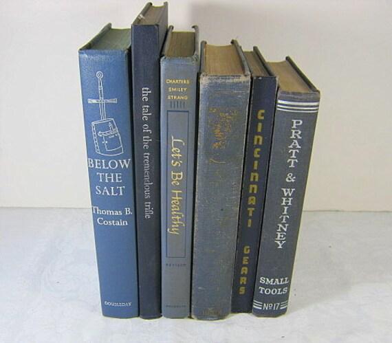 Vintage BLUE BOOKS Instant Collection Retro Gray Props Set/6 Decor