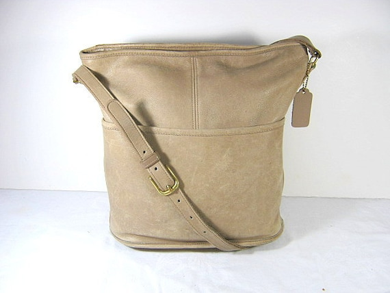 Vintage 80s AUTHENTIC COACH Bucket HoBo Bag US Leather Purse Unique Serial