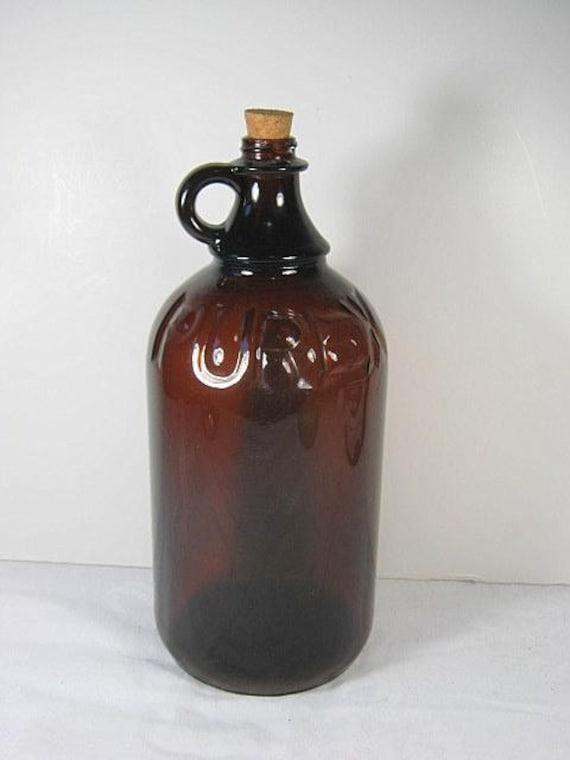 Vintage 40s Purex Jug Bottle Brown Glass 2 Qt Laundry