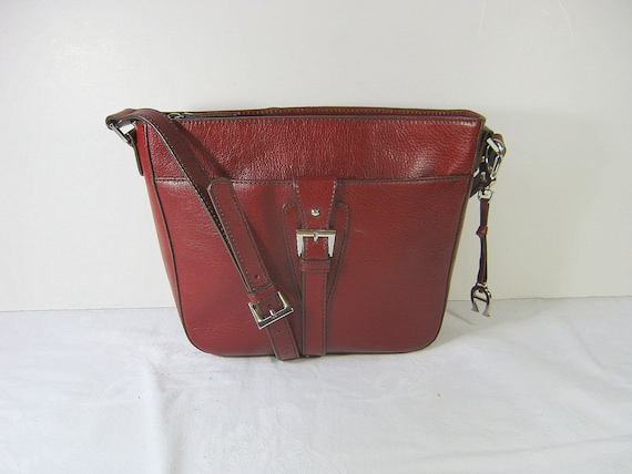 Vintage Etienne Aigner LEATHER Hand BAG Rich Burgundy Shoulder Strap