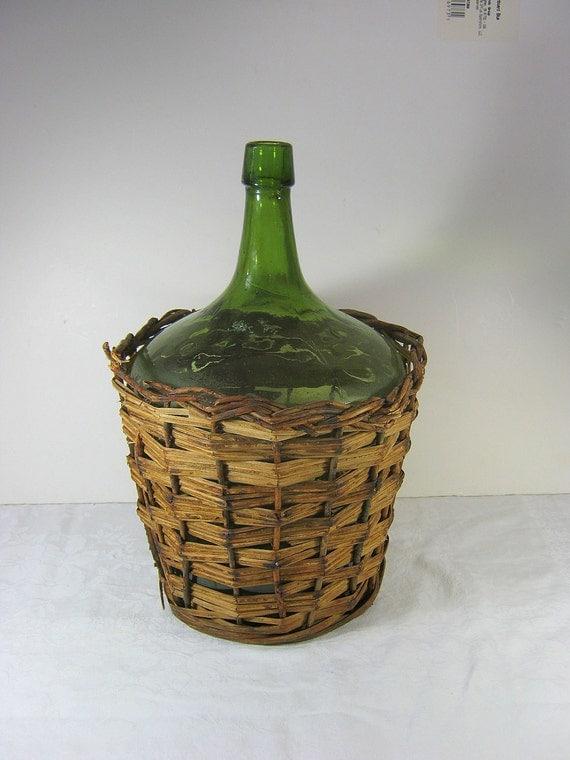 Antique Wine Demijohn Basket Green Glass Winemaking Vintage