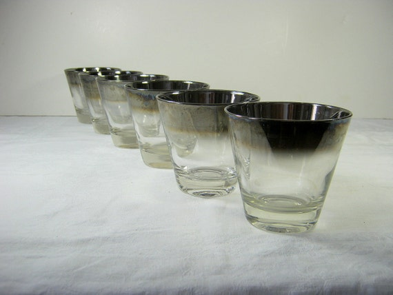 Vintage Silver Rim Glassware Mad Men Bar Ware Monogram Set/6