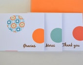 Thank You Card Set - Set of 3 (Merci, Gracias, Thank you)