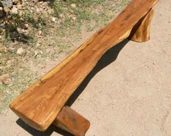 Large Outdoor Bench - Reclaimed Pecan Wood