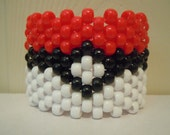 Pokemon Inspired Pokeball Kandi Cuff 8.5 inches