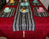 "Black & White Mudcloth Table Runner and 4 Placemats - 69""x14"""