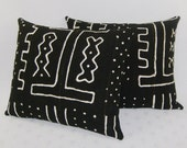 Black and White Mudcloth Pillow Cover - 18x22