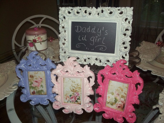 A set of 3 baby girl, baby girl nursery, shabby chic, Wedding picture frames, one chalkboard