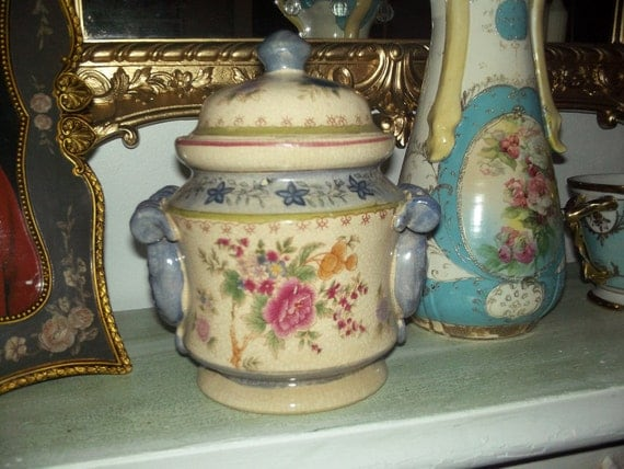 Vintage Antique French country ornate ceramic crackle Jar with a floral design