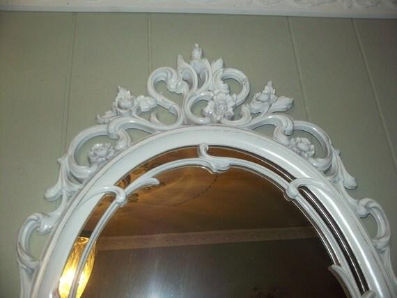 Vintage white, boudoir baroque French Country, Victorian, CHALKBOARD, baby Nursery wedding decor I HAVE TWO orginial Syroco Mirror