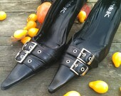 Halloween Goth Black Vintage Pointed Toe Shoes Size 10     Free Shipping USA Only