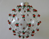 White, red & green hand-sewn beaded glass ornament
