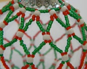 Striped green & red hand-sewn beaded ornament