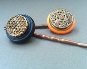 Vintage Button Hair Pins in Blue, Orange and Gold