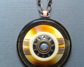 Mayan Sun- spectacular vintage button necklace