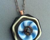 Sweet Blue Octagon - vintage button pendant