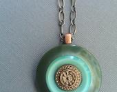 Sea Green Vintage Button Necklace