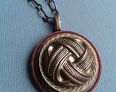 Vintage Button Necklace with Gold Woven Pattern