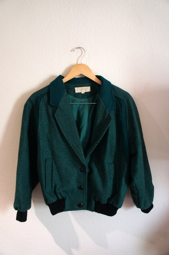 SALE Vintage 1970s or 1980s Emerald Green Striped Wool Letterman Style Jacket Size M