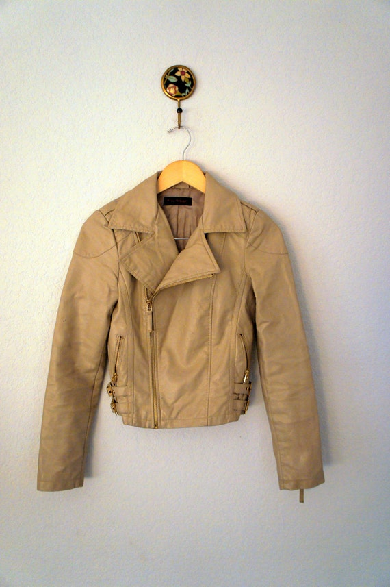 SALE Vintage Butter Cream Vegan Faux Leather Cropped Motorcycle Jacket Size XS