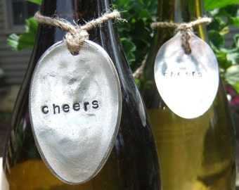 4 Wine Bottle Charms - Tag Decor Vintage Hand Stamped Spoon - Set of 4