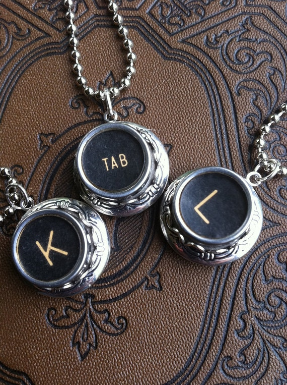 Typewriter Key Locket - Authentic Vintage Salvaged - Any  Letter or Number