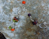 Necklace Sterling Silver Purple Lampwork Bead Wire Wrapped