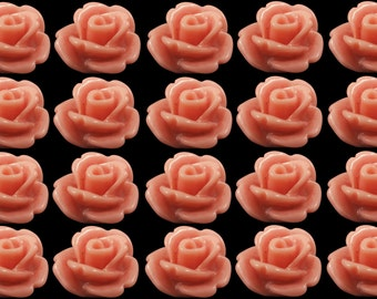 Resin Cabochon 20 Coral  Retro Roses Flowers - AUSTRALIA