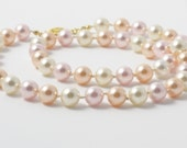 Swarovski Pearl Necklace - Medium Cream, Peach, and Pink Hand Knotted Pearls - Princess Length