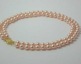 Swarovski Pearl Necklace - Double Strand Medium Peach Hand Knotted Pearls