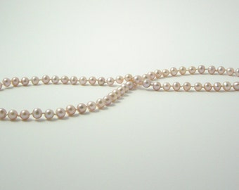 Freshwater Cultured Pearl Necklace - Mauve Hand Knotted Pearls - Matinee Length